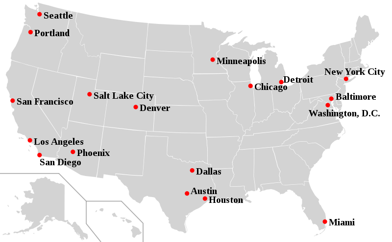 US Map With Major Cities Major Cities In The US Maps Of The - Us map largest cities